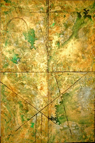 abstract work on canvas, 4 panels, greens, bronze, brown, silver