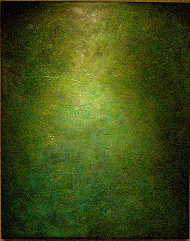 very deep, yet simple painting in greens with beautiful undertones