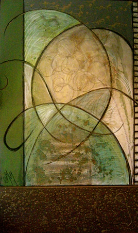 unusual flowing abstract in pale greens, bronze, off white, black