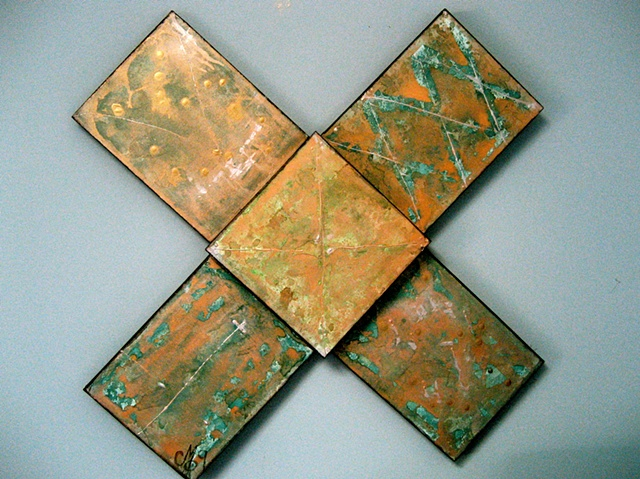 painting in the shape of an + or cross..beautiful colors, blue, bronze, gold