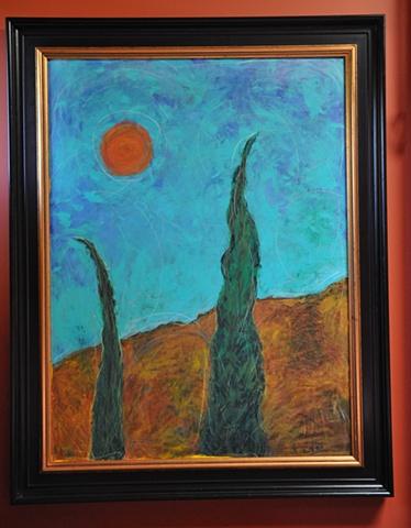Italian Cypress with Sun