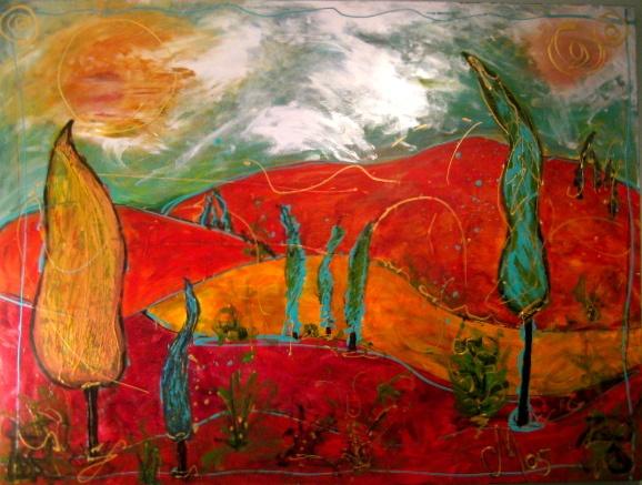 Red Italian Landscape