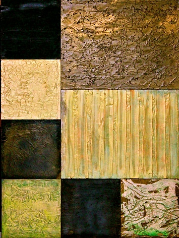 encaustic on board, panels bolted together, large encaustic, earth tones, black, green, gold