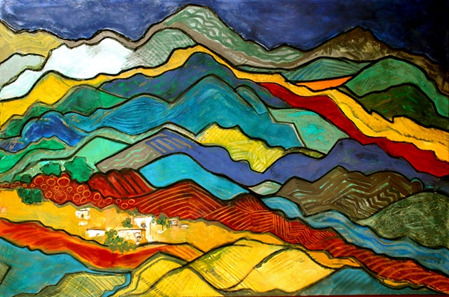 Large colorful landscape of the Mexican mountains and countryside.