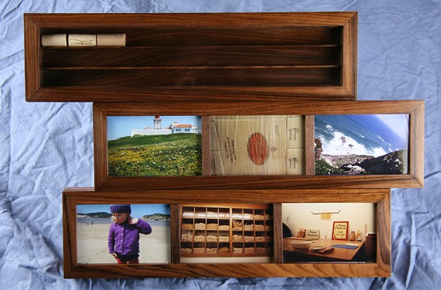 Bolivian rosewood memory wall cabinet  for corks and photos