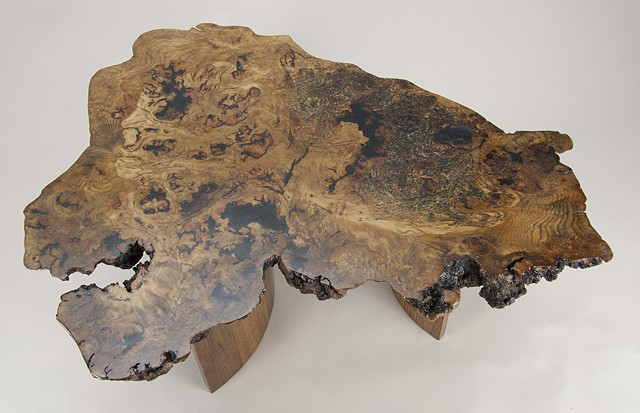 top of white oak burl coffee table showing the interesting colors and patterns present