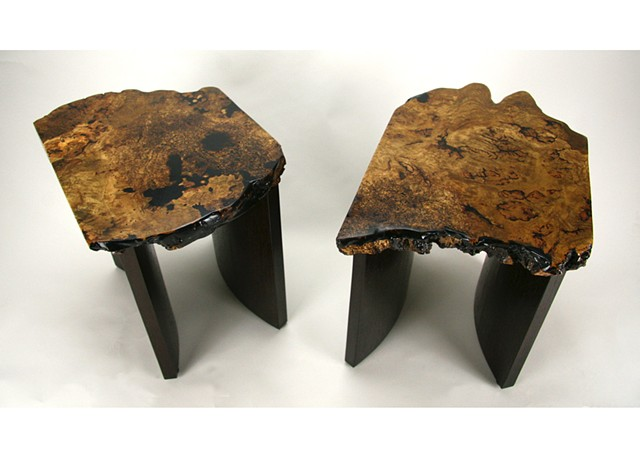 Oak Burl End Tables on Wenge Bases