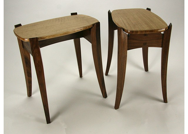 quartersawn white oak end tables with walnut bases