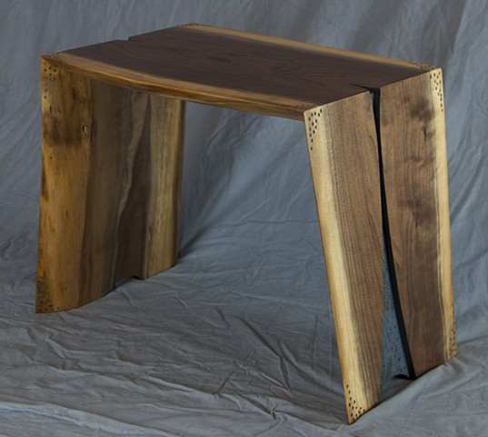 live edge walnut end table milk paint
