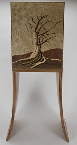marquetry, bristlecone pine, bent tapered laminations, sapele