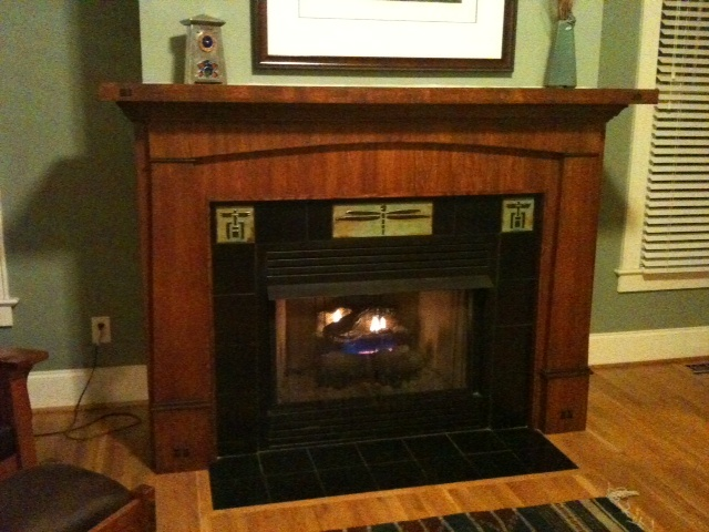 Completed project with fire in fireplace!