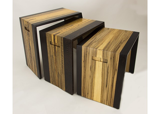 nesting tables, white oak, spalted