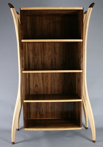 Walnut and Maple Open Display Cabinet/ Bookcase