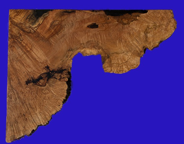 Top View of Maple Burl Corner Table