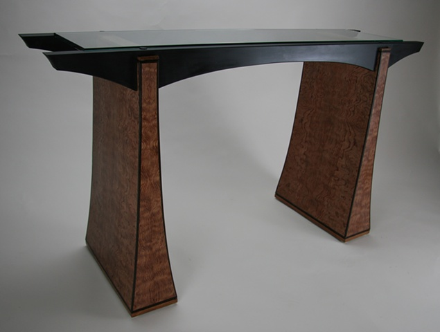 Bubinga and Glass Entry Table
