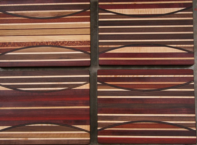 cutting boards, many species of wood, full thickness laminated inlay