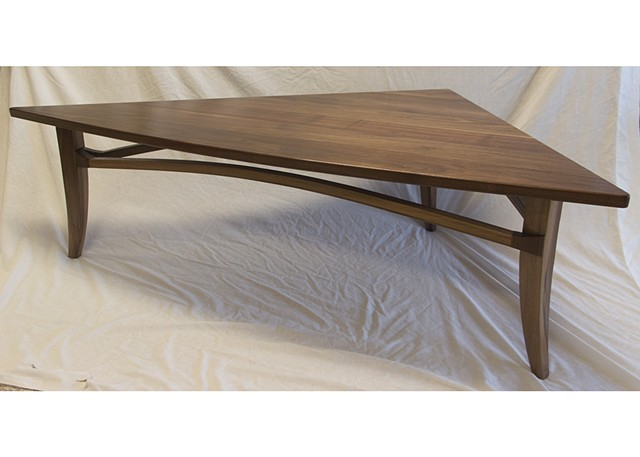 triangular walnut coffee table
