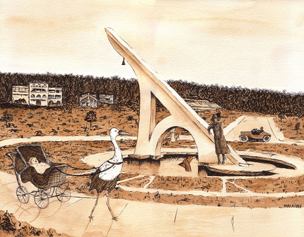 """Sundial"" watercolor, ink on paper At 26 feet tall, the sundial in Ingleside Terraces was once billed by The Urban Realty Improvement Company ""the largest and most magnificent sundial in the world."" In a ceremony complete with dancing ""nymphs,"" a live ban"