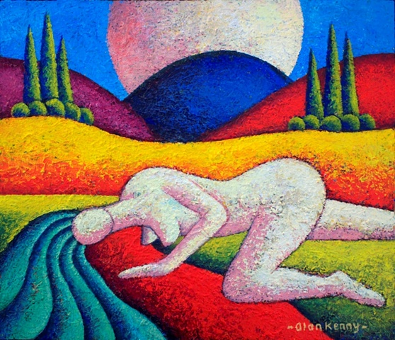 A White Nude in a landscape with river
