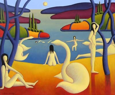 white bathers by lake