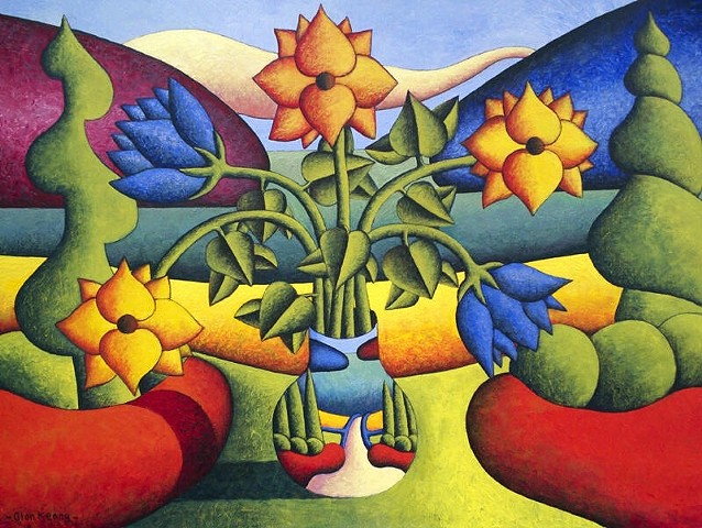 Soft vase with flowers in landscape  by Alan Kenny (available)