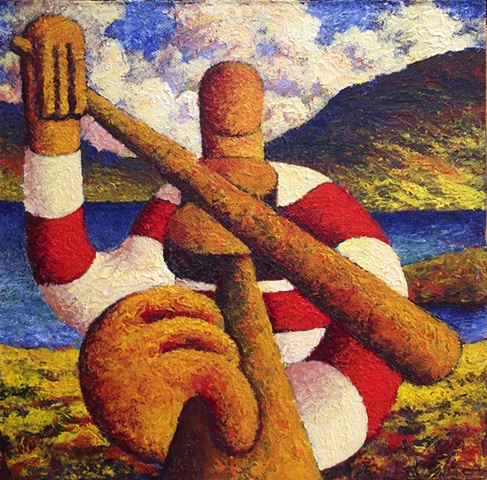 Fiddle player (impasto)
