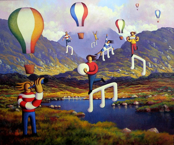 Connemara landscape with balloons and musicians