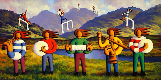 Five soft musicians in connemara landscape