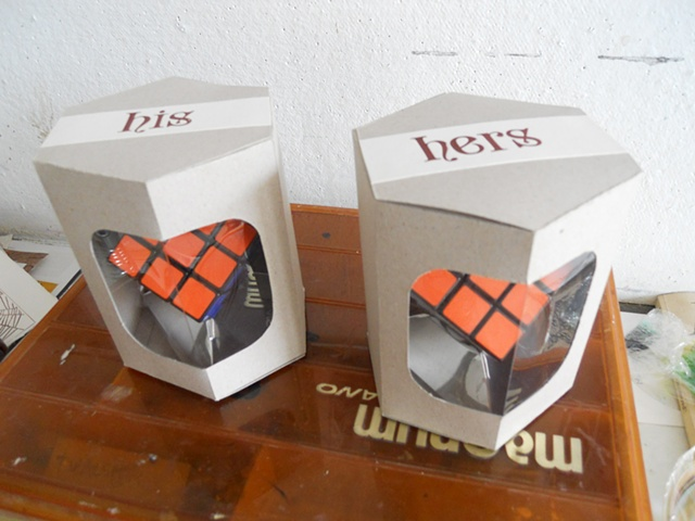 letterpress wedding rubik's cube