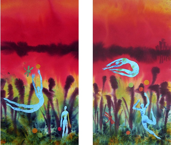A playful 2 panel dye & collage painting with dancing acrobatic circus figures in a swamp
