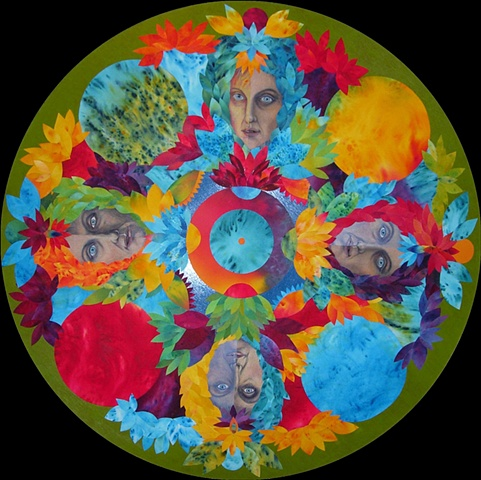 Four directions, eight fold path, meditative, mandala, faces, lotus flowers, petals, circular art
