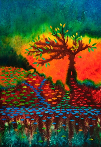 rivers, painted dye, collage, tree, landscape, bright, vivid