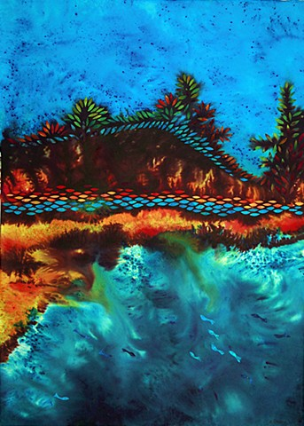 All Flows Back to the Sea- Fantasy Landscape using Water based dye and collage on paper
