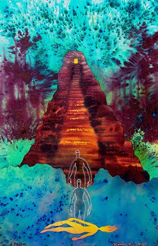 This piece was from a dream- but strongly resembles a Mayan temple