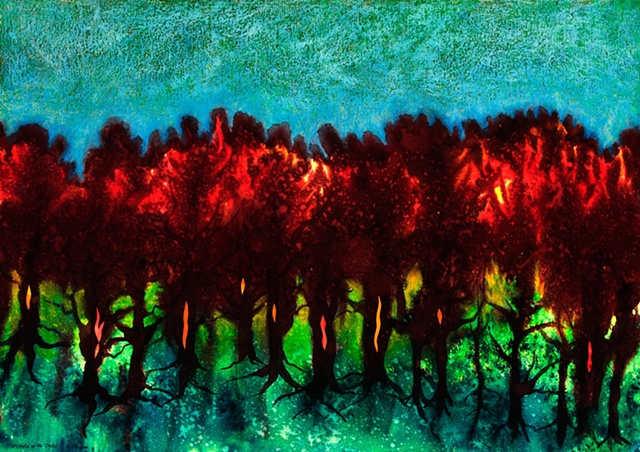 Trees, mysterious, deep, light, within, dye, collage