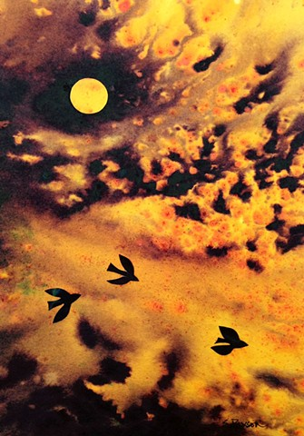 Birds wing across a dramatic sky, after a storm