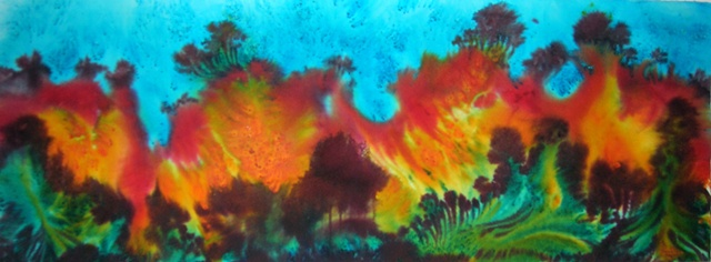 Horizontal landscape influenced by the dunes of Lake Michigan, in vivid blues, greens, oranges and reds