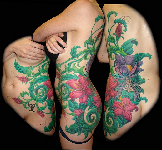 Salisbury Maryland tattoos crucial tattoo studio tattoo flowers vines woman fairy body farie girl color tattoos faerie