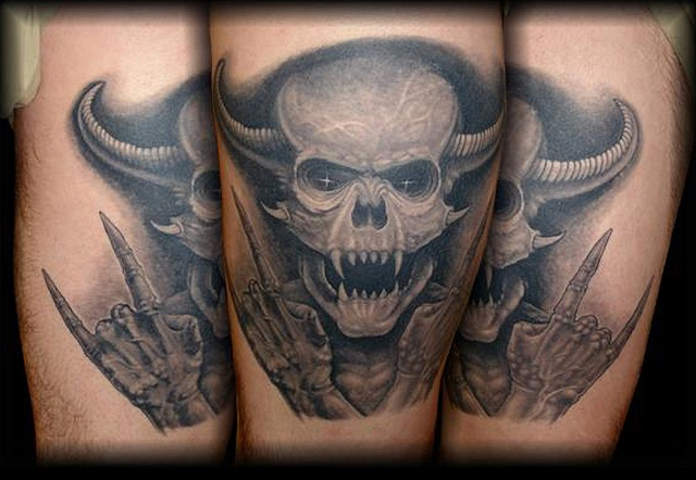 Salisbury Maryland tattoos crucial tattoo studio tattoo evil demon skull horns dark tattoo
