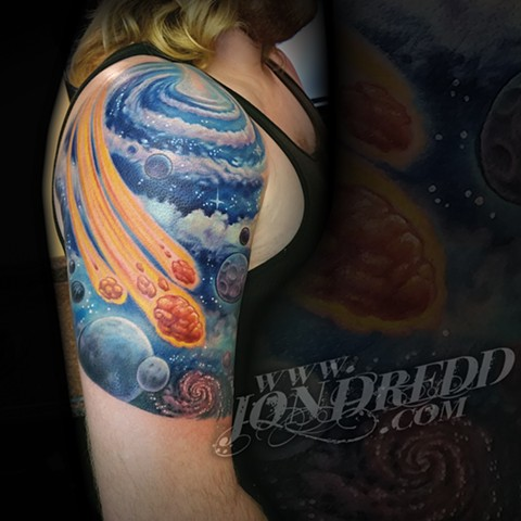 crucial tattoo studio best tattoos salisbury maryland tattoos jonathan kellogg jon dredd delaware ocean city space blue swirls comets