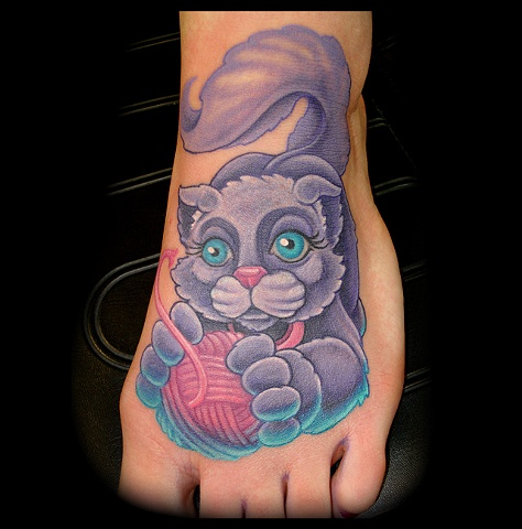 cat tattoo crucial tattoo studio custom tattoos