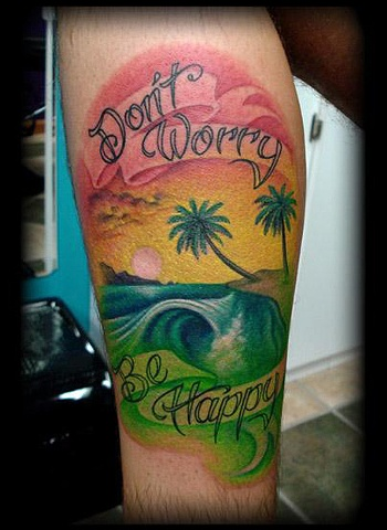 Salisbury Maryland tattoos crucial tattoo studio tattoo beach wave rasta color sunset water tattoos
