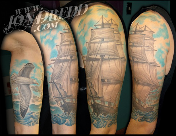 seagull ship water crucial tattoo studio salisbury maryland delaware jon dredd kellogg tattoos
