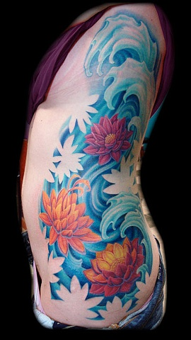Salisbury Maryland tattoos crucial tattoo studio tattoo water lotus flowers waves tattoos color large