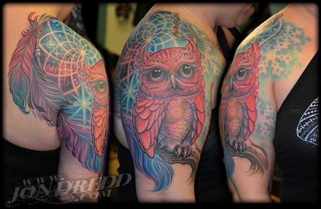 crucial tattoo studio best tattoos salisbury maryland tattoos jonathan kellogg jon dredd delaware ocean city owl stars owls dreamcatcher feather feathers space