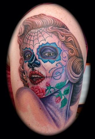 Marilyn Monroe day of the dead skull face tattoos crucial tattoo studio salisbury maryland 21801
