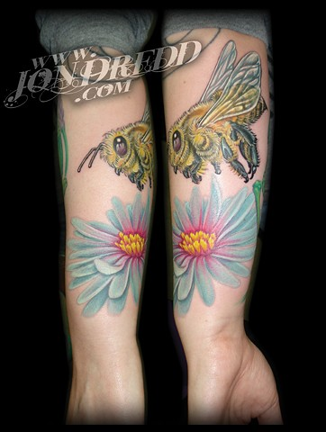 bee flower crucial tattoo studio salisbury maryland delaware jon dredd kellogg tattoos full color tattoo