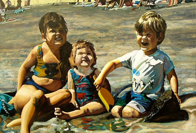 Schwei kids on a beach