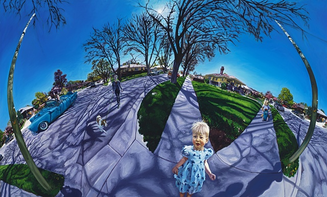 Street Scene Warped Curved Space 360 Degree View Dog Car Kids Shadows Trees Painting