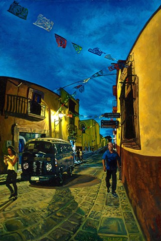 San Miguel de Allende Mexico Night Scene VW Volkswagen Bus